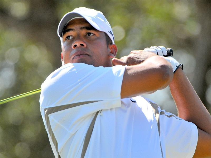 SAN ANTONIO, TX - OCTOBER 10: Jhonattan Vegas tees off the 18th hole during the second round of the Valero Texas Open  held at La Cantera Golf Club on October 10, 2008 in San Antonio, Texas. (Photo by Marc Feldman\Getty Images)