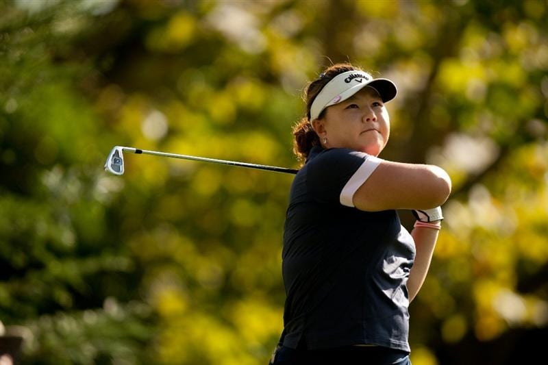 DANVILLE, CA - OCTOBER 14: Gloria Park of South Korea follows through on a tee shot during the first round of the CVS/Pharmacy LPGA Challenge at Blackhawk Country Club on October 14, 2010 in Danville, California. (Photo by Darren Carroll/Getty Images)