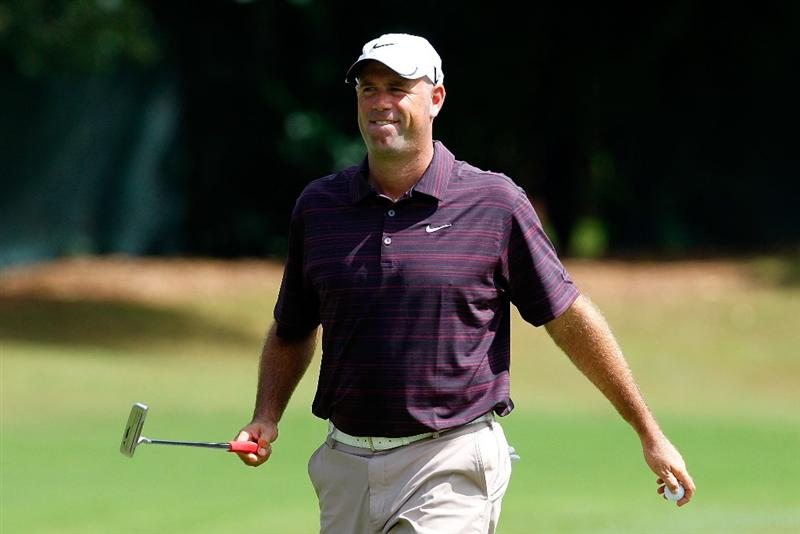 ATLANTA, GEORGIA - SEPTEMBER 24:  Stewart Cink reacts after sinking a birdie putt on the third green during the first round of THE TOUR Championship presented by Coca-Cola, the final event of the PGA TOUR Playoffs for the FedExCup, at East Lake Golf Club on September 24, 2009 in Atlanta, Georgia.  (Photo by Kevin C. Cox/Getty Images)