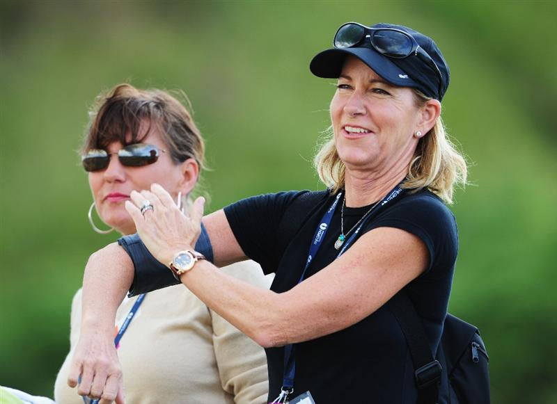 TURNBERRY, SCOTLAND - JULY 14:  Tennis Legend Chris Evert watches Greg Norman of Australia during a practice round prior to the 138th Open Championship on the Ailsa Course, Turnberry Golf Club on July 14, 2009 in Turnberry, Scotland.  (Photo by Stuart Franklin/Getty Images)