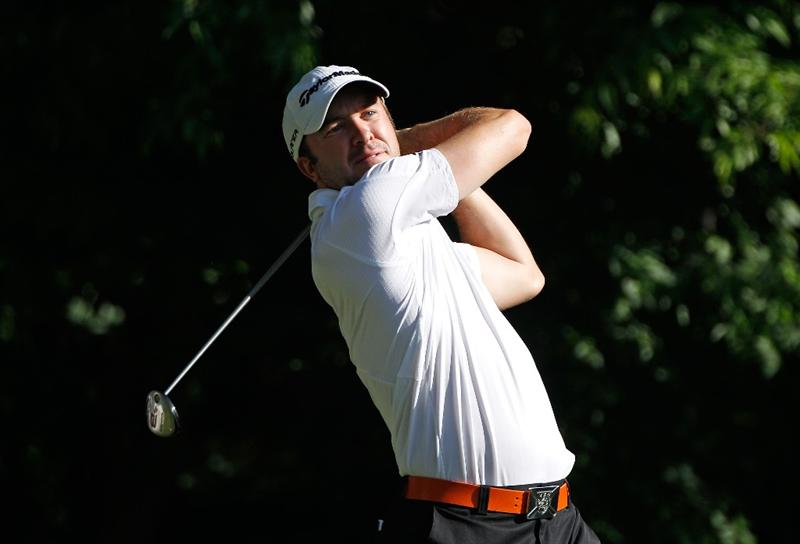CHARLOTTE, NC - APRIL 29:  Martin Laird of Scotland hits his tee shot on the fifth hole during the first round of the 2010 Quail Hollow Championship at the Quail Hollow Club on April 29, 2010 in Charlotte, North Carolina.  (Photo by Scott Halleran/Getty Images)