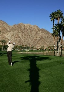 Justin Leonard makes a tee shot during the third round of the 49th Bob Hope Chrysler Classic on January 18, 2008 at the PGA WEST Arnold Palmer Private Course in La Quinta, California. PGA TOUR - 2008 Bob Hope Chrysler Classic - Round ThreePhoto by Robert Laberge/Getty Images