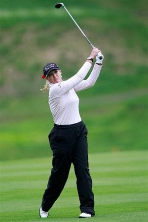GLADSTONE, NJ - MAY 22:  Cristie Kerr hits her second shot on the second hole during her match against  Suzann Pettersen of Norway in the final of the Sybase Match Play Championship at Hamilton Farm Golf Club on May 22, 2011 in Gladstone, New Jersey.  (Photo by Chris Trotman/Getty Images)
