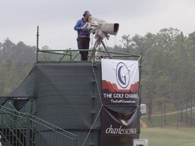 Golf Channel camera above the 17th green as flags blow during the first round of the Regions Charity Classic Robert Trent  Jones Golf Trail at Ross Bridge at  in Birmingham, Alabama on May 5, 2006.Photo by Al Messerschmidt/WireImage.com