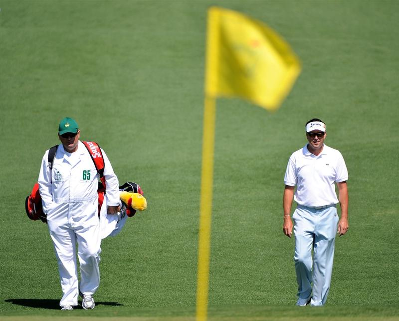 AUGUSTA, GA - APRIL 11:  Robert Allenby of Australia walks with his caddie Michael Waite down the second fairway during the third round of the 2009 Masters Tournament at Augusta National Golf Club on April 11, 2009 in Augusta, Georgia.  (Photo by Harry How/Getty Images)