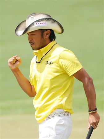 AUGUSTA, GA - APRIL 11:  Shingo Katayama of Japan celebrates a birdie putt on the second green during the third round of the 2009 Masters Tournament at Augusta National Golf Club on April 11, 2009 in Augusta, Georgia.  (Photo by Harry How/Getty Images)