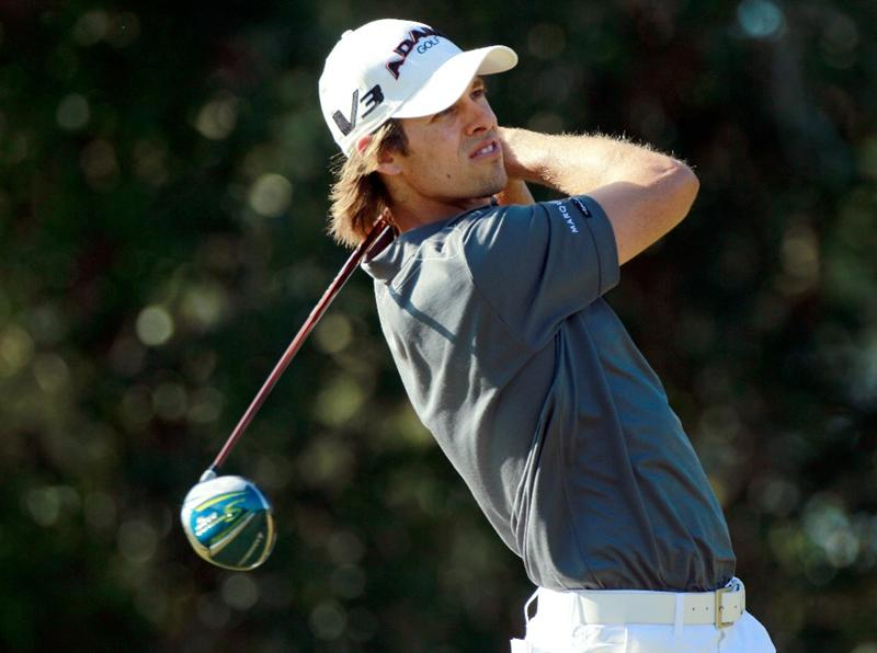 LAKE BUENA VISTA, FL - NOVEMBER 11:  Aaron Baddeley of Australia plays a shot on the 9th hole during the first round of the Children's Miracle Network Classic at the Disney Palm and Magnolia courses on November 11, 2010 in Lake Buena Vista, Florida.  (Photo by Sam Greenwood/Getty Images)