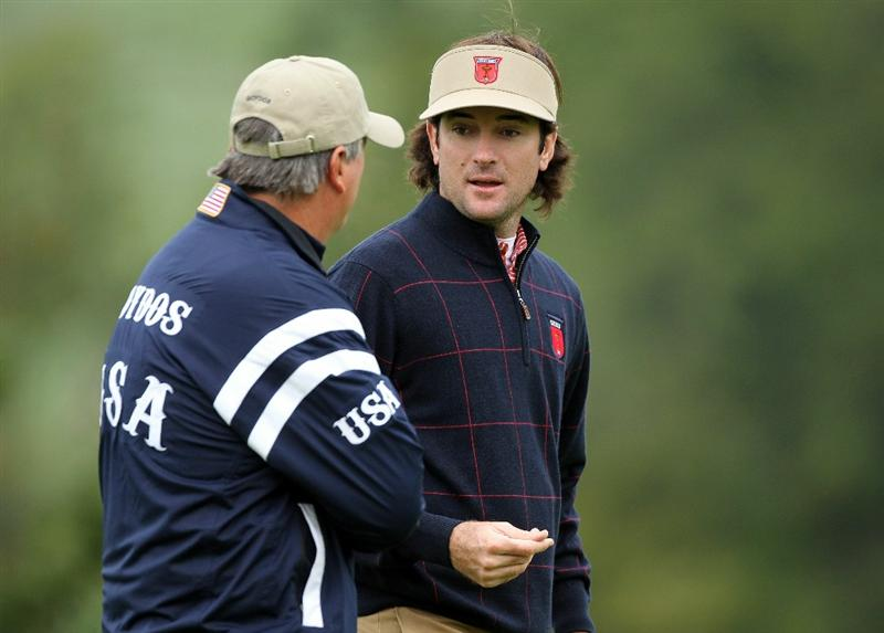 NEWPORT, WALES - SEPTEMBER 30:  USA Vice Captain Paul Goydos chats with Bubba Watson (R)  during a practice round prior to the 2010 Ryder Cup at the Celtic Manor Resort on September 30, 2010 in Newport, Wales.  (Photo by Andy Lyons/Getty Images)
