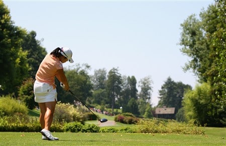 EVIAN, FRANCE - JULY 27:  Angela Park of the USA hits her tee-shot on the sixth hole during the final round of the Evian Masters at the Evian Masters Golf Club on July 27, 2008 in Evian, France.  (Photo by Andrew Redington/Getty Images)