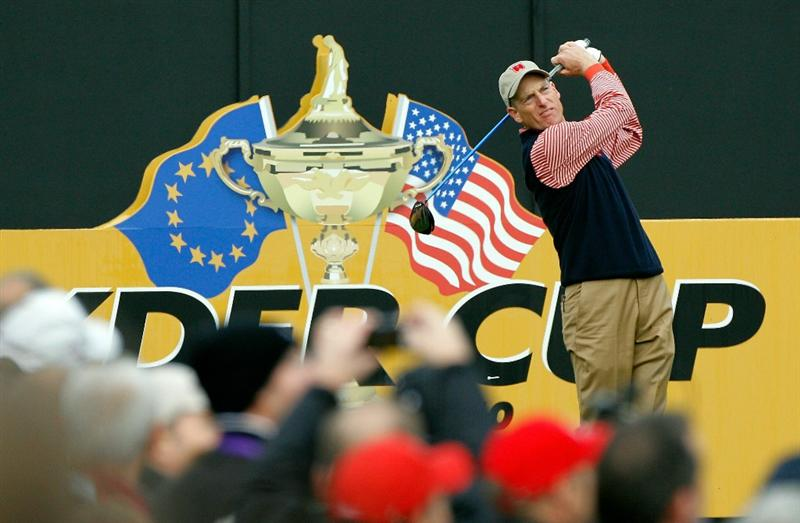NEWPORT, WALES - SEPTEMBER 30:  Jim Furyk of the USA tees off during a practice round prior to the 2010 Ryder Cup at the Celtic Manor Resort on September 30, 2010 in Newport, Wales.  (Photo by Sam Greenwood/Getty Images)
