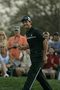Greg Owen reacts to his birdie on the 14th hole in action during the fourth round of the Bay Hill Invitational presented by MasterCard at the Bay Hill Club in Orlando, Florida on March 19, 2006.Photo by Michael Cohen/WireImage.com