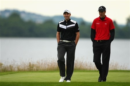 LUSS, UNITED KINGDOM - JULY 10:  Oliver Wilson (L) of England walks with Ross Fisher of England during the First Round of The Barclays Scottish Open at Loch Lomond Golf Club on July 10, 2008 in Luss, Scotland.  (Photo by Richard Heathcote/Getty Images)