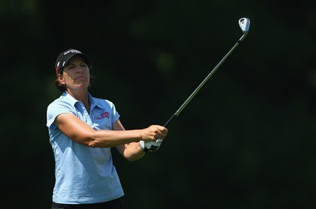 EVIAN, FRANCE - JULY 26:  Juli Inkster of USA hits her second shot on the fifth hole during the third round of the Evian Masters at the Evian Masters Golf Club on July 26, 2008 in Evian, France.  (Photo by Andrew Redington/Getty Images)