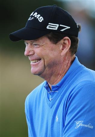 TURNBERRY, SCOTLAND - JULY 14:  Tom Watson of USA smiles during a practice round prior to the 138th Open Championship on the Ailsa Course, Turnberry Golf Club on July 14, 2009 in Turnberry, Scotland.  (Photo by Stuart Franklin/Getty Images)