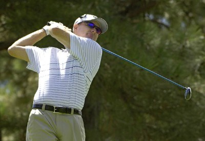 Steve Flesch tees off the 9th hole during the fourth and final round of The INTERNATIONAL held at Castle Pines Golf Club in Castle Rock, Colorado, on August 13, 2006.Photo by Marc Feldman/WireImage.com