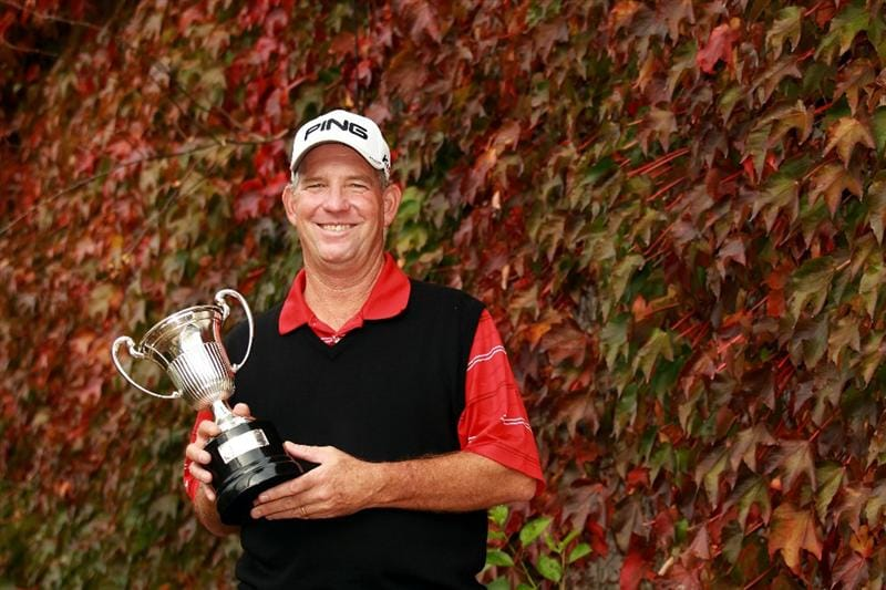 CASTELLON DE LA PLANA, SPAIN - NOVEMBER 07:  Mike Cunning of the USA poses with the trophy after winning the OKI Castellon Senior Tour Championships at Club de Campo del Mediteraneo on November 7, 2010 in Castellon de la Plana, Spain.  (Photo by Warren Little/Getty Images)