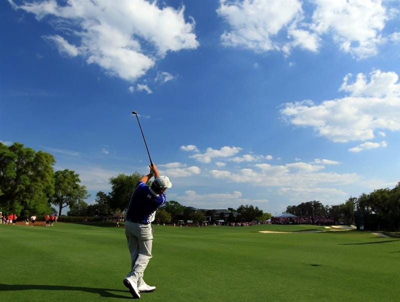WINDERMERE, FL - MARCH 15:  Graeme McDowell of Northern Ireland and the Lake Nona Club at the 18th hole during the second day of the 2011 Tavistock Cup at Isleworth Golf and Country Club on March 15, 2011 in Windermere, Florida.  (Photo by David Cannon/Getty Images)
