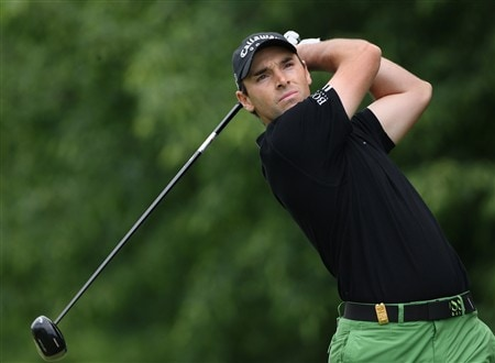 MILAN, ITALY - MAY 11:  Oliver Wilson of England  plays his tee shot on the second hole during the final round of the MC Methorios Capital Italian Open Golf at The Castello Di Tolcinasco Golf Club on May 11, 2008 in Milan, Italy.  (Photo by Stuart Franklin/Getty Images)