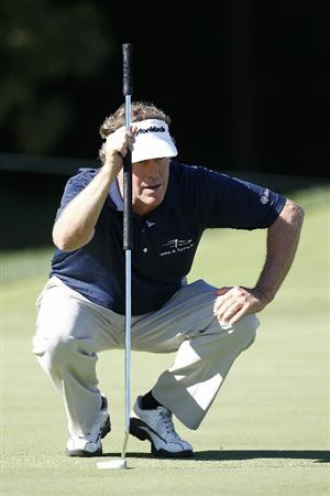 POTOMAC, MD - OCTOBER 08:  Michael Allen lines up a putt on the seventh green during the second round of the Constellation Energy Senior Players Championship held at TPC Potomac at Avenel Farm on October 8, 2010 in Potomac, Maryland.  (Photo by Michael Cohen/Getty Images)
