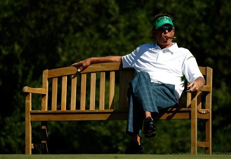 SUNRIVER, OR - AUGUST 21:  Dana Quigley enjoys a cigar as he waits to tee off on the 7th hole during the second round of the Jeld-Wen Tradition on August 21, 2009 at Crosswater Club at Sunriver Resort in Sunriver, Oregon.  (Photo by Jonathan Ferrey/Getty Images)