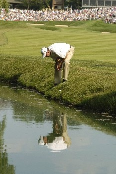 Bart Bryant's drive on the 18th hole lands in a hazard.  Bryant parred the hold to win The Memorial at Muirfield Village Golf Club in Dublin, Ohio  June 5, 2005.Photo by Al Messerschmidt/WireImage.com
