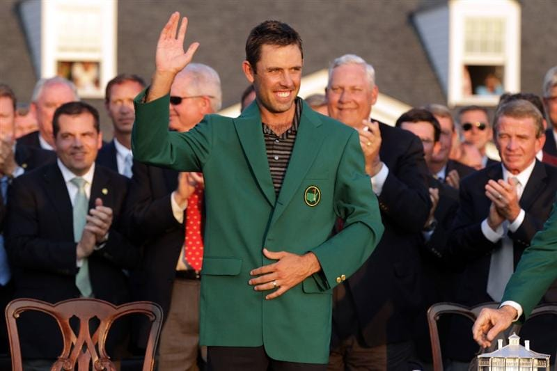 AUGUSTA, GA - APRIL 10:  Charl Schwartzel of South Africa waves to the gallery at the green jacket presentation after his two-stroke victory at the 2011 Masters Tournament at Augusta National Golf Club on April 10, 2011 in Augusta, Georgia.  (Photo by David Cannon/Getty Images)