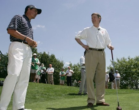 Tom Pernice Jr. and Denver Mayor John Hickenlooper during the ceremonial first tee of the 2005 International golf tournament at Castle Pines Country Club in Castle Pines, Colorado.Photo by Garrett Ellwood/WireImage.com