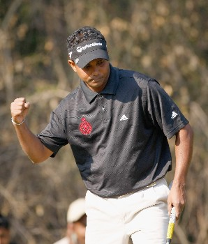 DELHI, INDIA - FEBRUARY 10:  S.S.P.Chowrasia of India celebrates his putt on the 12th hole during the final round of the Emaar-MGF Indian Masters at the Delhi Golf Club, on February 10, 2008 in Delhi, India.  (Photo by David Cannon/Getty Images)