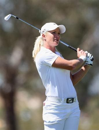 PHOENIX - MARCH 28:  Suzann Pettersen of Norway hits her second shot on the fifth hole during the third round of the J Golf Phoenix LPGA International golf tournament at Papago Golf Course on March 28, 2009 in Phoenix, Arizona.  (Photo by Christian Petersen/Getty Images)