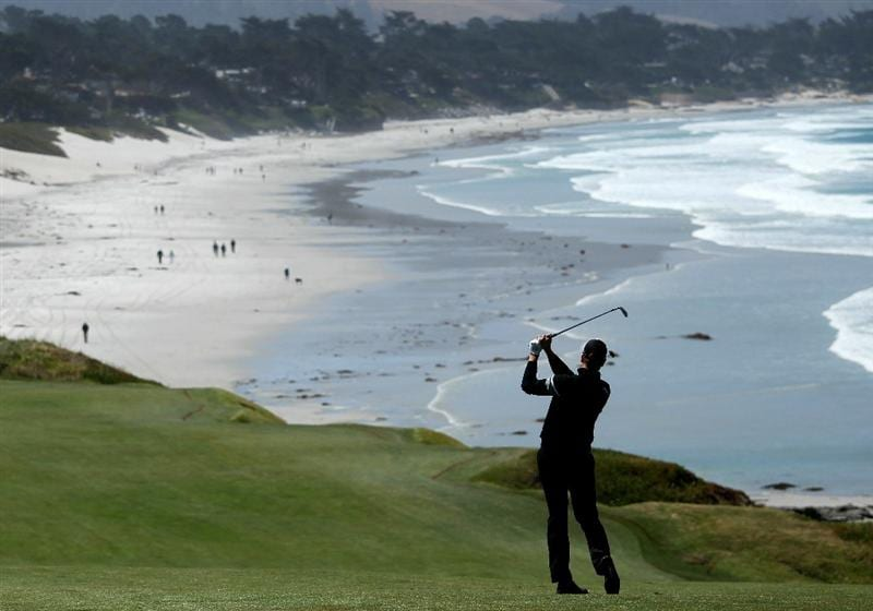 PEBBLE BEACH, CA - JUNE 16:  Henrik Stenson of Sweden hits a shot during a practice round prior to the start of the 110th U.S. Open at Pebble Beach Golf Links on June 16, 2010 in Pebble Beach, California.  (Photo by Andrew Redington/Getty Images)