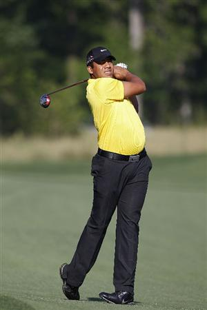 HUMBLE, TX - MARCH 31: Jhonattan Vegas of Venezuela hits a shot from the fairway during the first round of the Shell Houston Open at Redstone Golf Club on March 31, 2011 in Humble, Texas.  (Photo by Michael Cohen/Getty Images)