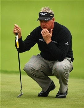 LUSS, UNITED KINGDOM - JULY 10:  Darren Clarke of Northern Ireland lines up a putt during the First Round of The Barclays Scottish Open at Loch Lomond Golf Club on July 10, 2008 in Luss, Scotland.  (Photo by Richard Heathcote/Getty Images)