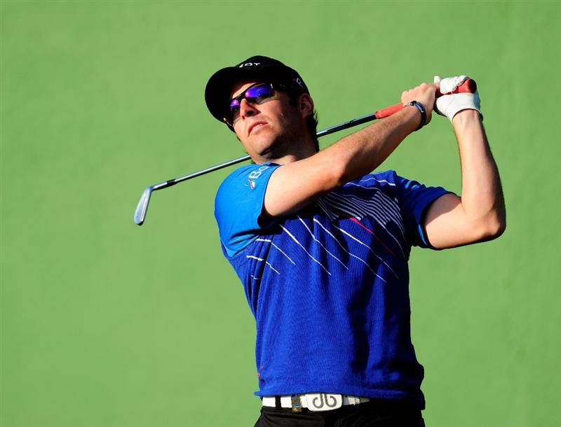 MALLORCA, SPAIN - MAY 16:  Mark Tullo of Chile plays an approach shot during the final round of the Open Cala Millor Mallorca at Pula golf club on May 16, 2010 in Mallorca, Spain.  (Photo by Stuart Franklin/Getty Images)
