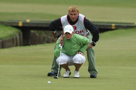 ST ANDREWS, UNITED KINGDOM - AUGUST 05:  Linda Wessberg of Sweden lines up her putt on the 1st green during the Final Round of the 2007 Ricoh Women's British Open held on the Old Course at St Andrews on August 5, 2007 in St Andrews, Scotland. (Photo by David Cannon/Getty Images)