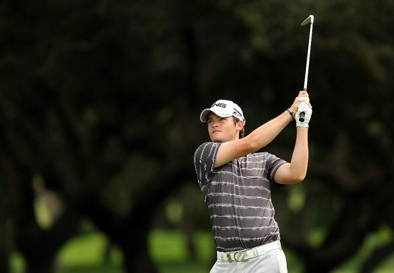 SOTOGRANDE, SPAIN - OCTOBER 30:  Gary Boyd of England plays into the 1st green during the third round of the Andalucia Valderrama Masters at Club de Golf Valderrama on October 30, 2010 in Sotogrande, Spain.  (Photo by Richard Heathcote/Getty Images)