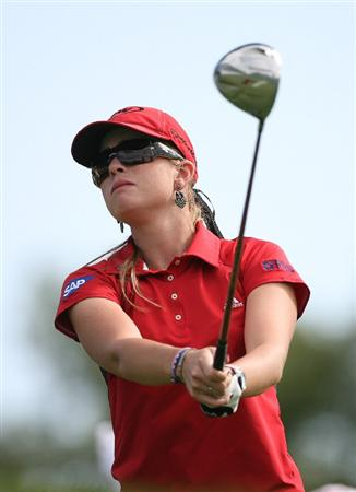 CALGARY, AB - SEPTEMBER 03: Paula Creamer of the United States hits her tee shot on the 18th hole during the first round of the Canadian Women's Open at Priddis Greens Golf & Country Club on September 3, 2009 in Calgary, Alberta, Canada. (Photo by Hunter Martin/Getty Images)