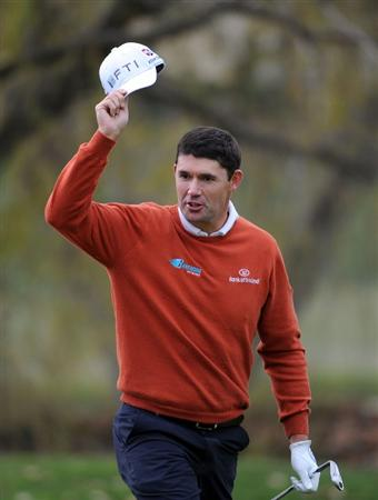 THOUSAND OAKS, CA - DECEMBER 06:  Padraig Harrington of Ireland reacts to his eagle out of the bunker on the third hole during the fourth round of the Chevron World Challenge at Sherwood Country Club on December 6, 2009 in Thousand Oaks, California.  (Photo by Harry How/Getty Images)