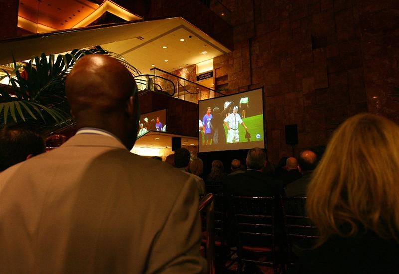 NEW YORK - MARCH 31:  Guests watch a special screening of Golf Channel's new celebrity reality series, Donald J Trump's Fabulous World of Golf on March 31, 2010 at Trump Towers in New York, New York.  (Photo by Mike Stobe/Getty Images for Golf Channel)