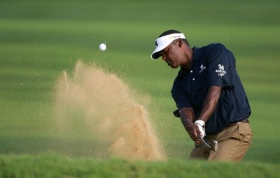 Vijay Singh hits out of the bunker on the 13th hole  during the first round of the Sony Open at the Waialae Country Club on January 10, 2008 in Honolulu, Oahu, Hawaii. PGA TOUR - 2008 Sony Open in Hawaii - First RoundPhoto by Jonathan Ferrey/WireImage.com