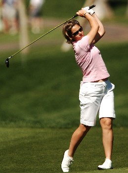 Stephanie Arricau hits from the on the  seventh fairway during the third round of the LPGA's 2005 Kraft Nabisco Championship, at Mission Hills Country Club in Rancho Mirage, California March 26, 2005.