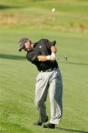 TIMONIUM, MD - OCTOBER 12: D.A. Weibring hits his second shot on the eighth hole during the final round of the Constellation Energy Senior Players Championship at Baltimore Country Club East Course held on October 12, 2008 in Timonium, Maryland (Photo by Michael Cohen/Getty Images)
