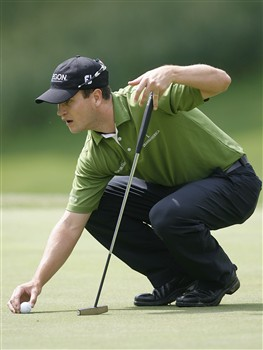 DULUTH, GA - MAY 16:  Zach Johnson lines up a putt on the second green during the second round of the AT&T Classic at TPC Sugarloaf on May 16, 2008 in Duluth, Georgia.  (Photo by Matt Sullivan/Getty Images)