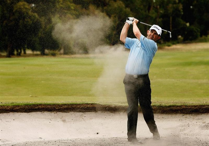 MELBOURNE, AUSTRALIA - NOVEMBER 26:  Greg Chalmers of Australia plays out of the bunker on the seventh hole during the Australian Masters pro-Am ahead of the Australian Masters at Huntingdale Golf Club on November 26, 2008 in Melbourne, Australia.  (Photo by Quinn Rooney/Getty Images)