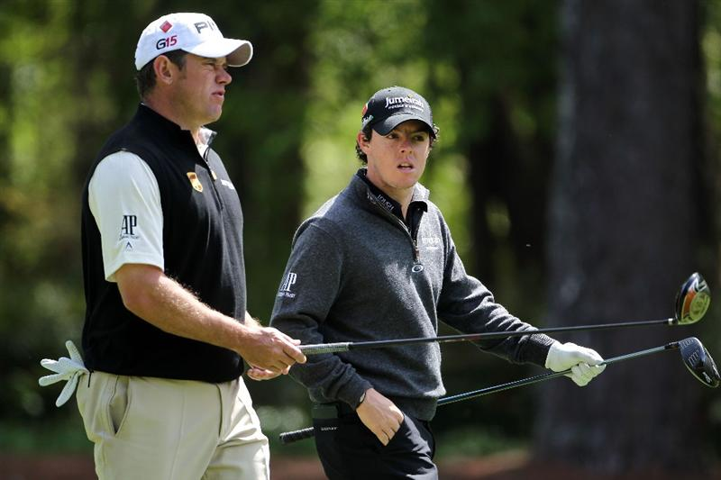 AUGUSTA, GA - APRIL 05:  Lee Westwood of England (L) walks alongside Rory McIlroy of Northern Ireland down a fairway during a practice round prior to the 2011 Masters Tournament at Augusta National Golf Club on April 5, 2011 in Augusta, Georgia.  (Photo by Jamie Squire/Getty Images)
