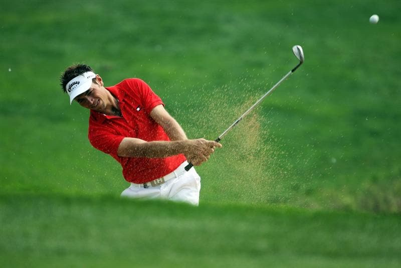 BEIJING - APRIL 17:  Nick Dougherty of England plays out of a bunker during the round two of the Volvo China Open at the Beijing CBD International Golf Club on April 17, 2009 in Beijing, China.  (Photo by Guang Niu/Getty Images)