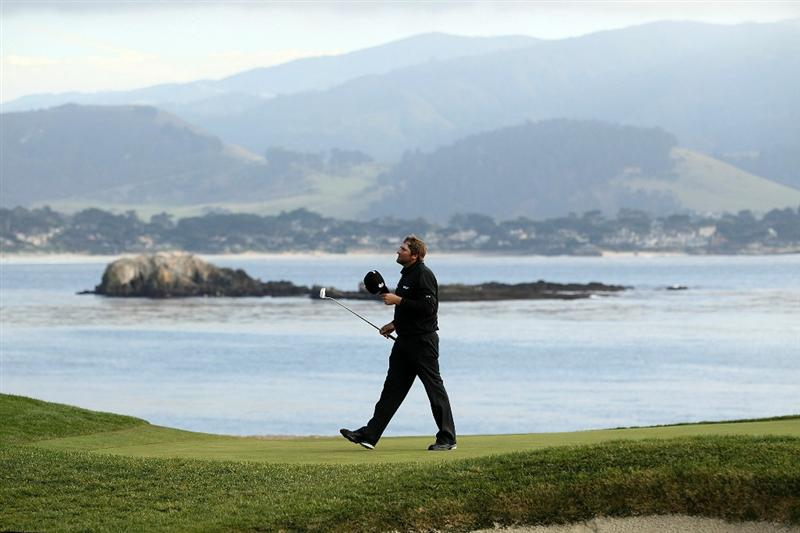 PEBBLE BEACH, CA - FEBRUARY 13:  Steve Marino walks off the 18th green after the final round of the AT&T Pebble Beach National Pro-Am at the Pebble Beach Golf Links on February 13, 2011 in Pebble Beach, California.  (Photo by Ezra Shaw/Getty Images)