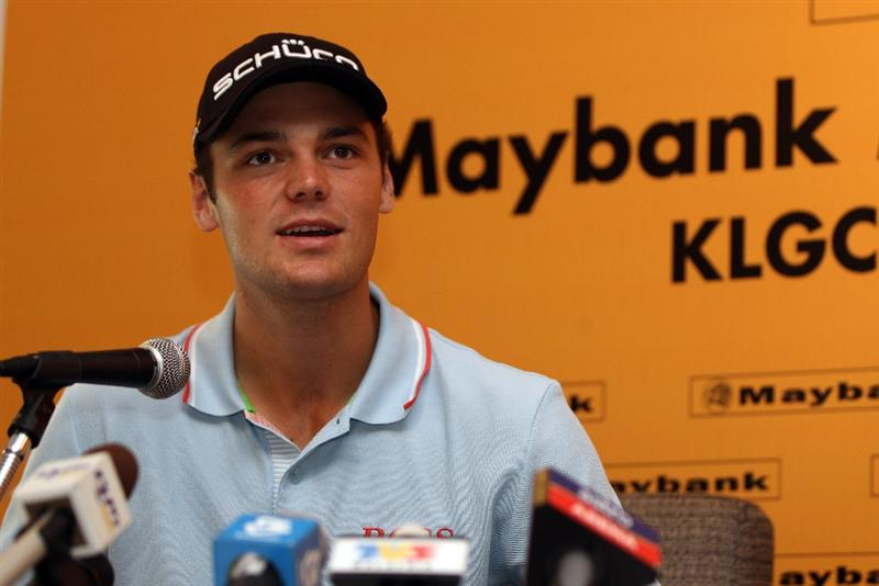 KUALA LUMPUR, MALAYSIA - APRIL 13:  Martin Kaymer of Germany speaks to the press during a practice round ahead of the Maybank Malaysian Open at Kuala Lumpur Golf & Country Club on April 13, 2011 in Kuala Lumpur, Malaysia.  (Photo by Ian Walton/Getty Images)