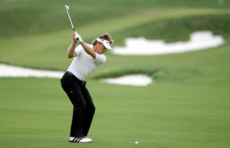 INCHEON, SOUTH KOREA - SEPTEMBER 10:  Bernhard Langer of Germany plays a shot during day one of PGA Champions Tour - Posco E&C Songdo Championship at Jack Nicklaus Golf Club on September 10, 2010 in Incheon, South Korea.  (Photo by Chung Sung-Jun/Getty Images)