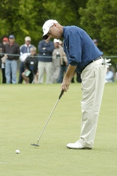 Patrick Sheehan  putts for a double bogie on the 9th green during the first round of the Wachovia Championship on Thursday, May 5, 2005 at the Quail Hollow Club in Charlotte, North Carolina.Photo by Marc Feldman/WireImage.com