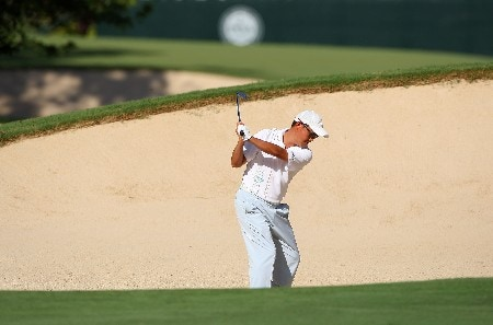 TULSA, OK - AUGUST 10:  Toru Taniguchi of Japan hits a shot on the 12th hole during the second round of the 89th PGA Championship at the Southern Hills Country Club on August 10, 2007 in Tulsa, Oklahoma.  (Photo by Stuart Franklin/Getty Images)